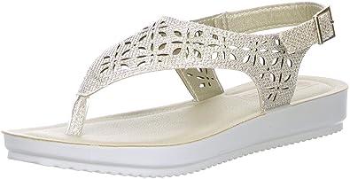 inblu Damen Zehentrenner Sandaletten Glitzeroptik platin/gold, Größe:42;Farbe:Gold