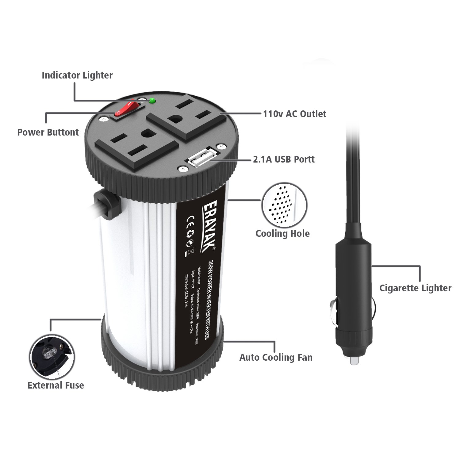 ERAYAK 200W Car Power Inverter with Dual US Outlets and 2.1A USB Charging Ports Car Adapter with Car Cigarette Lighter Socket-8200Y by ERAYAK (Image #2)