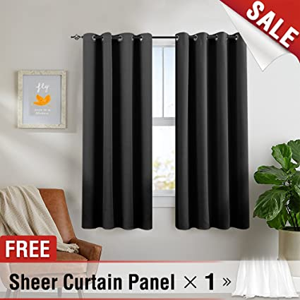 Jinchan Blackout Curtains Bedroom 1 Panel White Sheer Curtain Triple Weave  Thermal Insulated Window Curtain Panels
