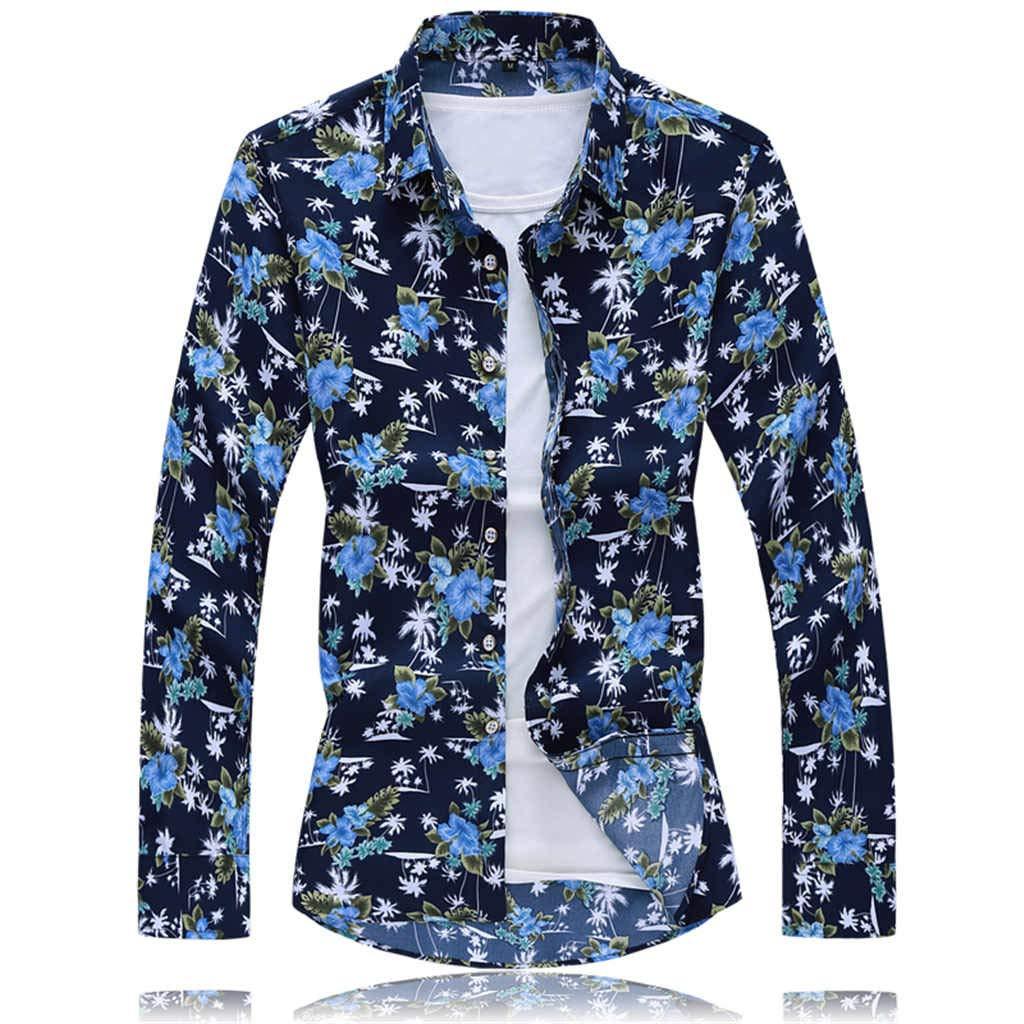 ZODOF Camisa de Vestir para Hombre Camisa de Lino Estampada Funky de Manga Larga Camisa Casual Elegante Floral Tops Patrón único(XXXXXXL, Azul): Amazon.es: Ropa y accesorios