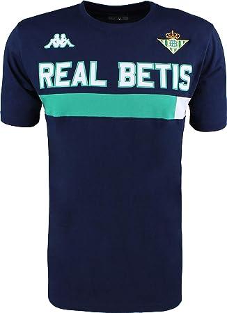 Camiseta de algodón de manga corta - Real Betis Balompié 2018/2019 - Kappa Ambra Tee - Azul marino/Verde - Adulto: Amazon.es: Deportes y aire libre