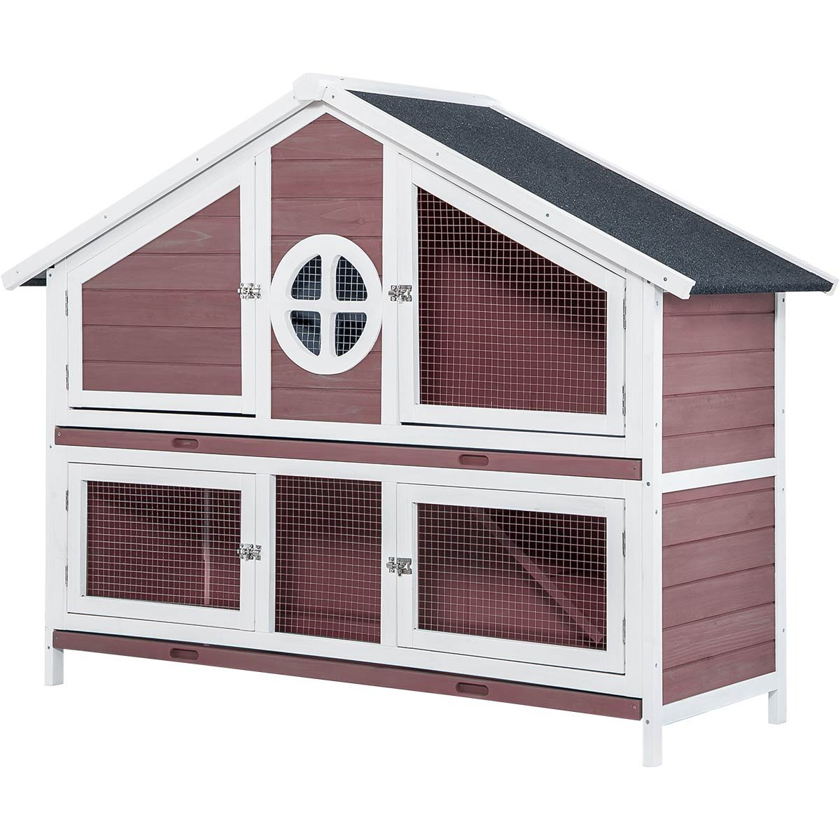 LZ LEISURE ZONE Purlove Rabbit Hutch Wood House Pet Cage for Small Animals (Rabbit Hutch #3)