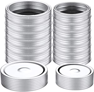 32 Pcs Wide/Regular Mouth Canning Lids (86mm+70mm), Lids and Rings for Mason Jar Canning Lids, Split-Type Lids Leak Proof and Silver Secure Canning Jar Caps, Storage with Silicone Seals