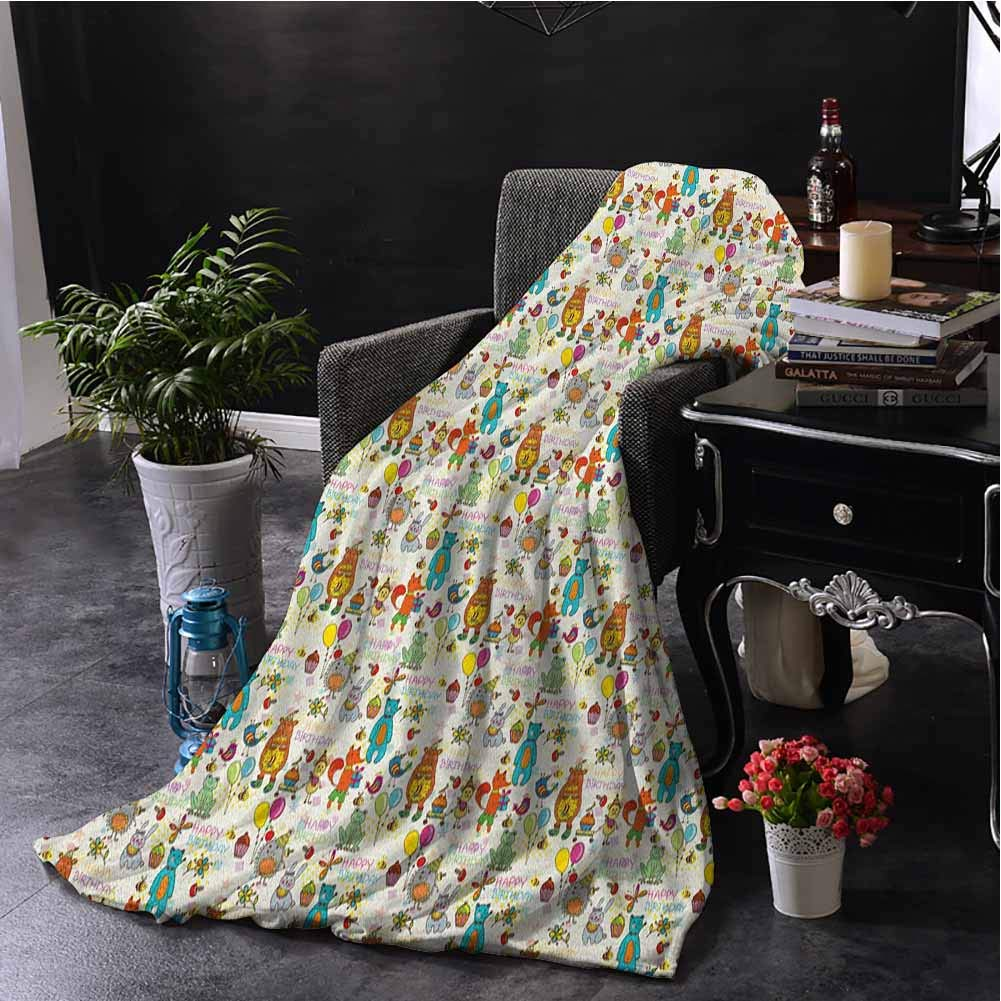 Luoiaax Birthday Fuzzy Blankets King Size Festive Fun Event with Cartoon Drawn Style Mouse Fox Bear Wolf Frog Hedgehog Hare Lightweight Life Comfort Blanket W70 x L93 Inch Multicolor