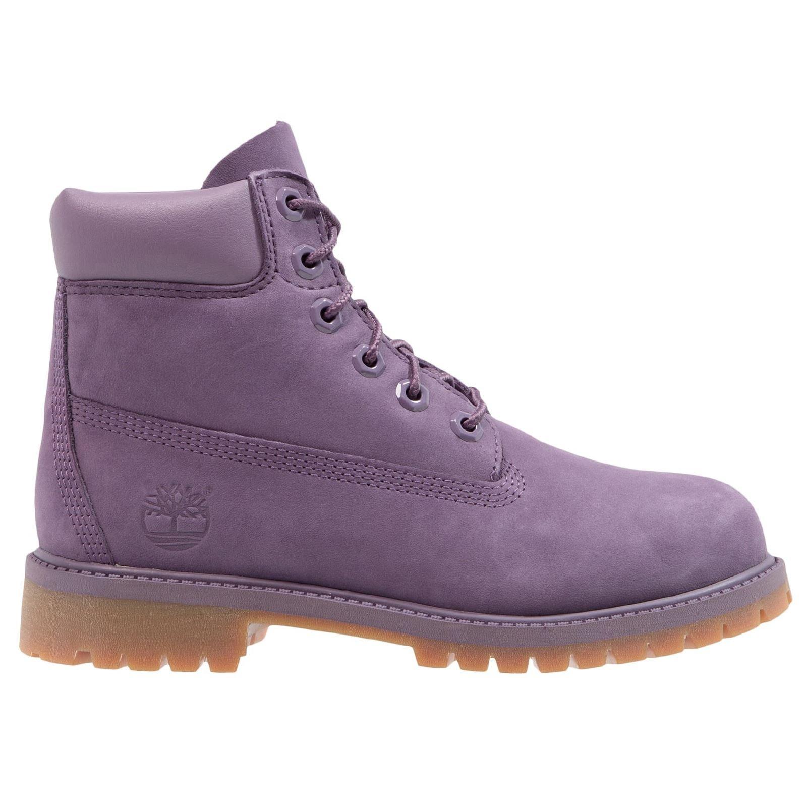 Timberland Youth 6 Inch Premium Waterproof Montana Grape Leather Boots 7 US