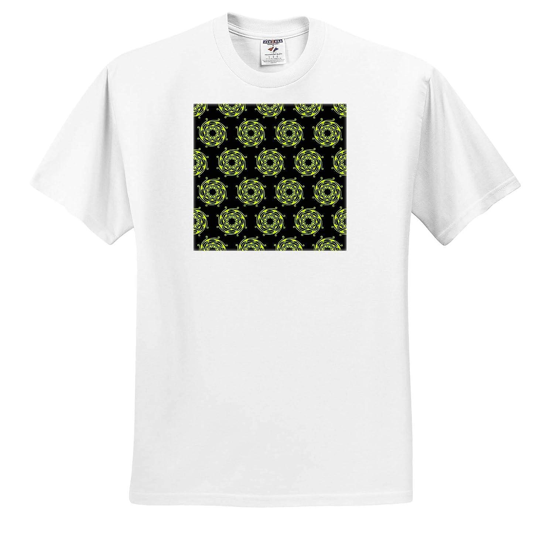 T-Shirts Lime Green Circular Spiral Pattern on Black Background 3dRose Russ Billington Patterns