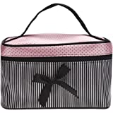 Ularma Sac à cosmétiques Bow Stripe Portable Voyage Trousses de toilette Maquillage Organisateur Titulaire de Sac à main (Noir)