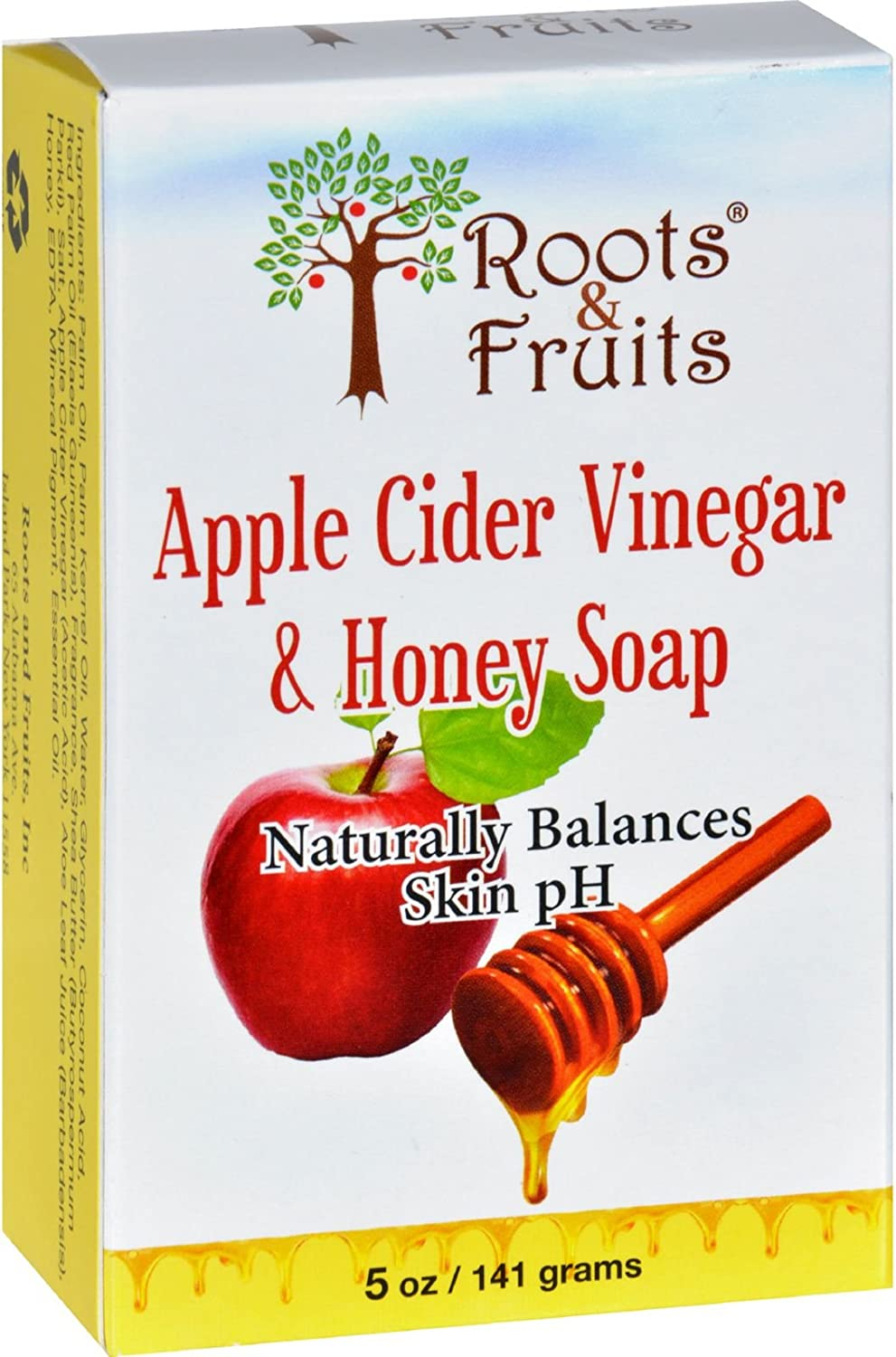 2 Packs of Roots And Fruits Bar Soap - Apple Cider Vinegar And Honey - 5 Oz