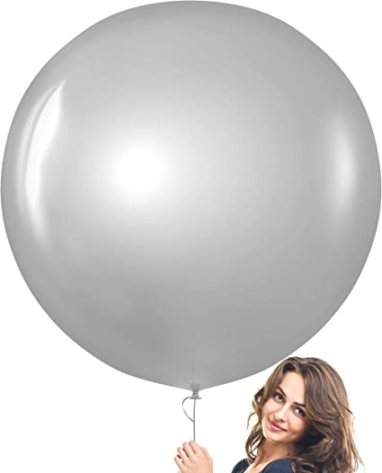 Helium Quality Gender Reveal 3 NEW 36 Inch Giant Round SILVER Latex Balloons