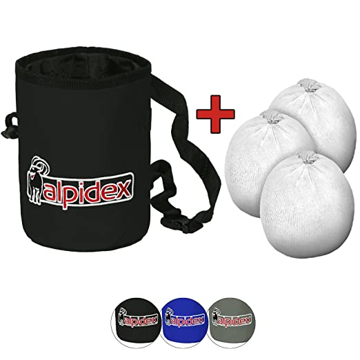ALPIDEX Chalkbag Highfly, Incluyendo 3 x Chalk Ball 35 g, Color:Black Rock: Amazon.es: Deportes y aire libre