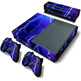 Violet Lightning Vinyl Decal Full Body Faceplates Skin Sticker For Xbox one console x 1 and controller x 2