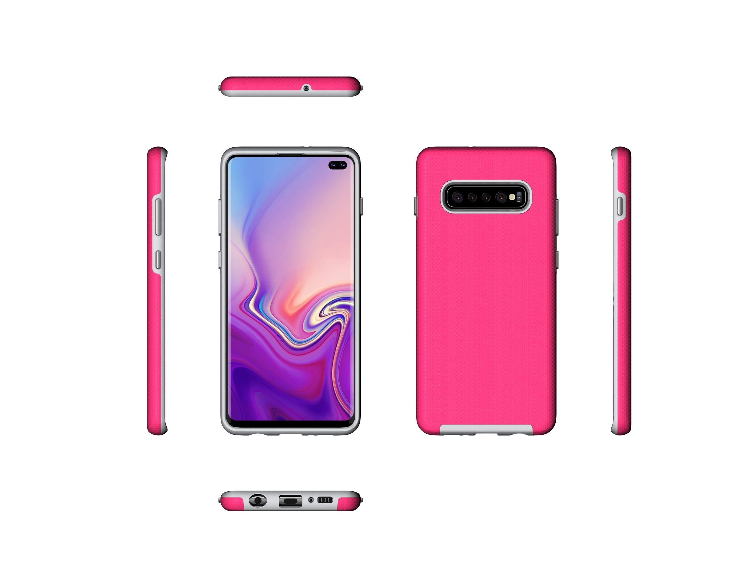 NOMO Galaxy S10 Case,Samsung S10 Hybrid Defender Armor Case,Dual Layer Protective Phone Case,Full Body Rugged Case,Non-Slip Drop Protection Shock Proof Case for Samsung Galaxy S10 Hot Pink by NOMO (Image #5)