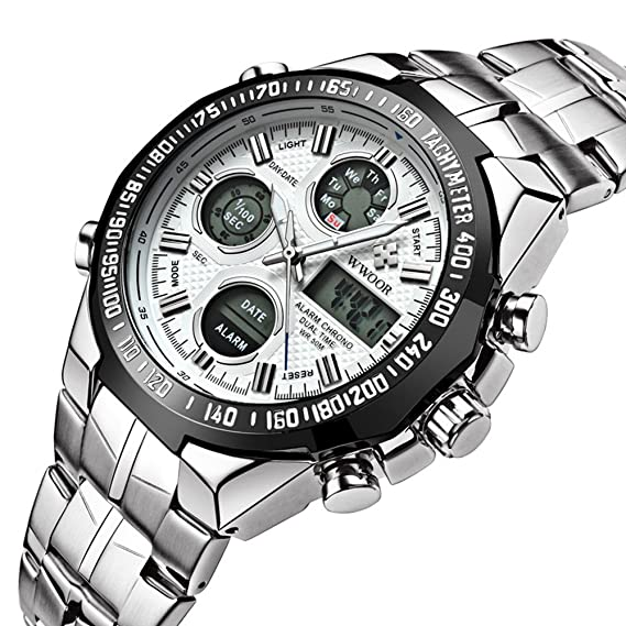 wwoor 8019 Hombres de deporte y ocio multifuncional resistente al agua reloj electrónico reloj (blanco