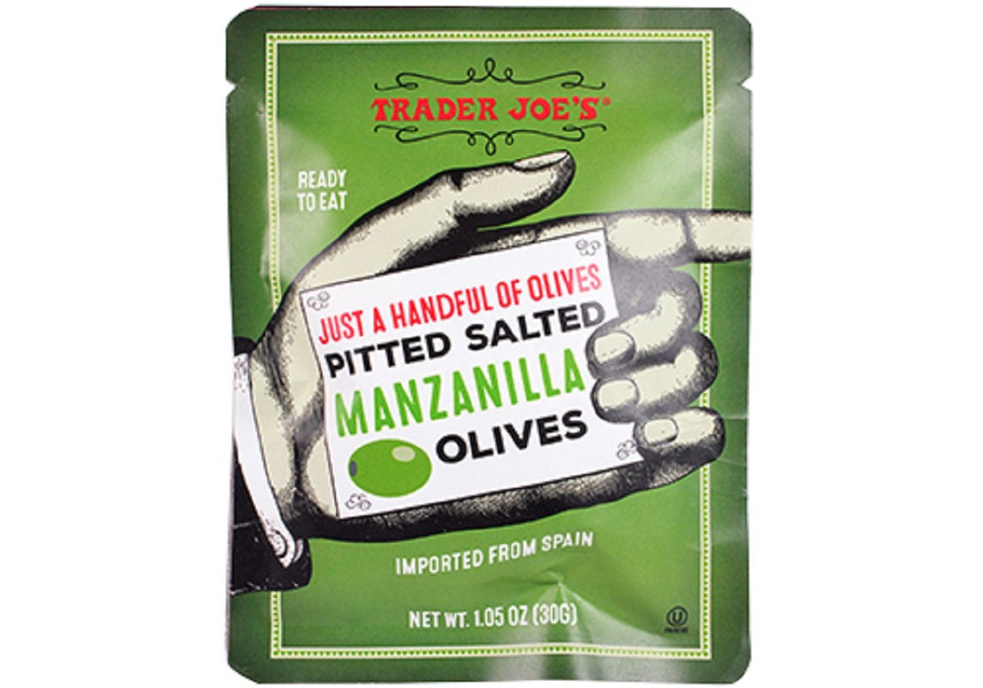 Trader Joe's Just a Handful of Pitted Salted Manzanilla Olives (4-pack), 1.05 oz each by Trader Joe's