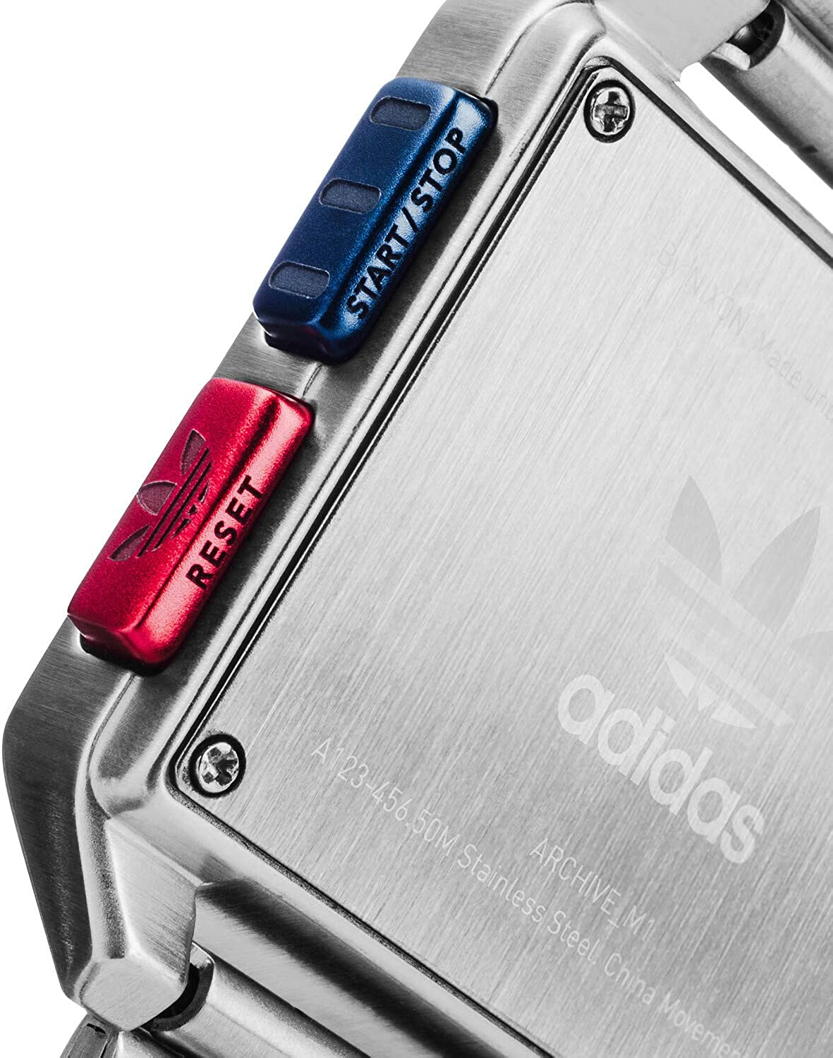 Adidas Watches Archive_M1. Men's 70's Style Stainless Steel Digital Watch with 5 Link Bracelet (36 mm). Silver / Black / Blue / Red