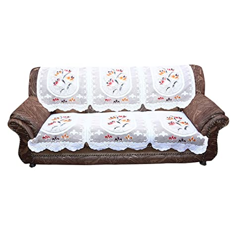 Kuber Industries 6 Piece Cotton 5 Seater Sofa Cover Set - Cream