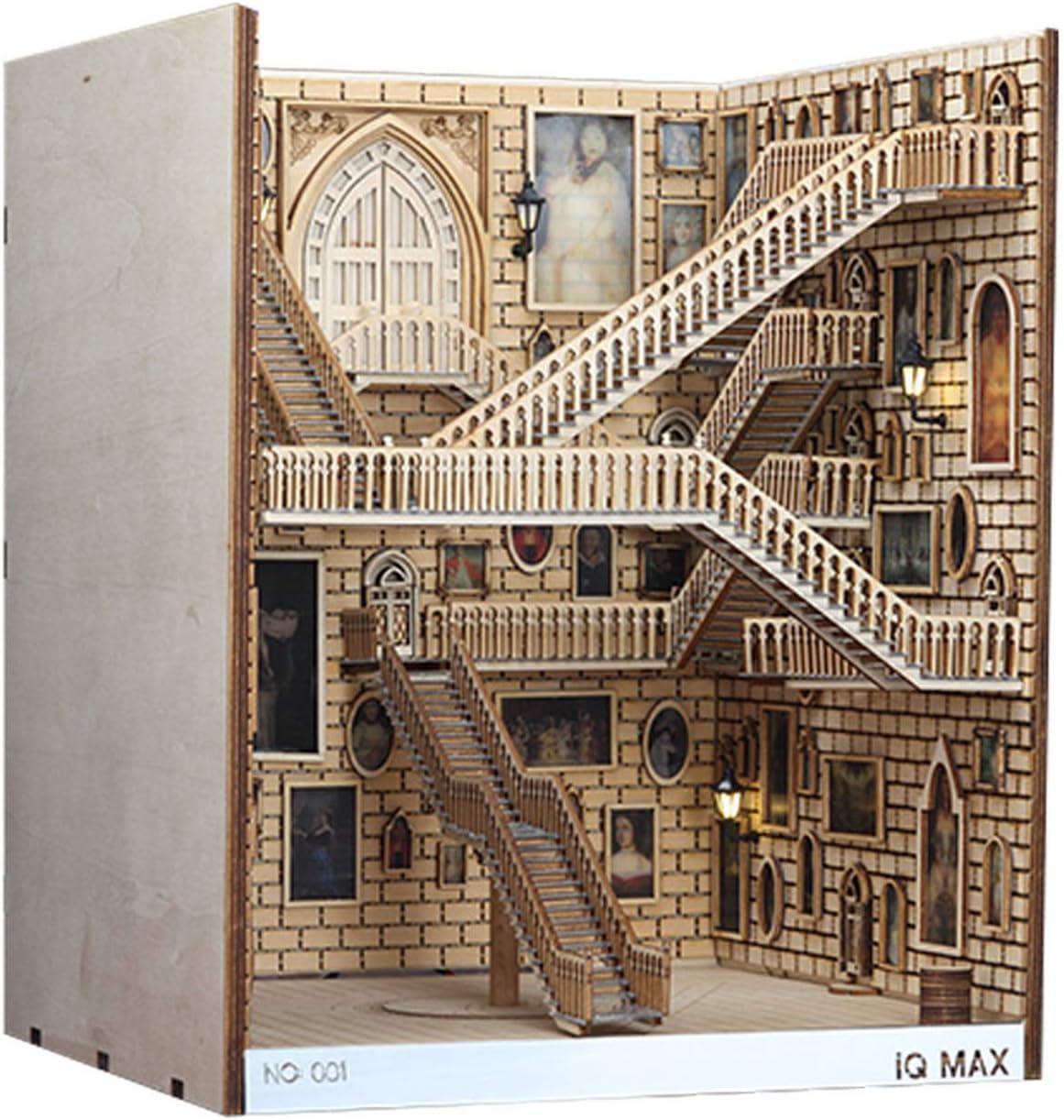 LUOWAN Wooden Book Nook Inserts Art Bookends DIY Bookshelf Decor Stand Decoration Fairy Garden Miniatures Home Decoration Accessories (Spiral Staircase, 10.28.88.5 in)