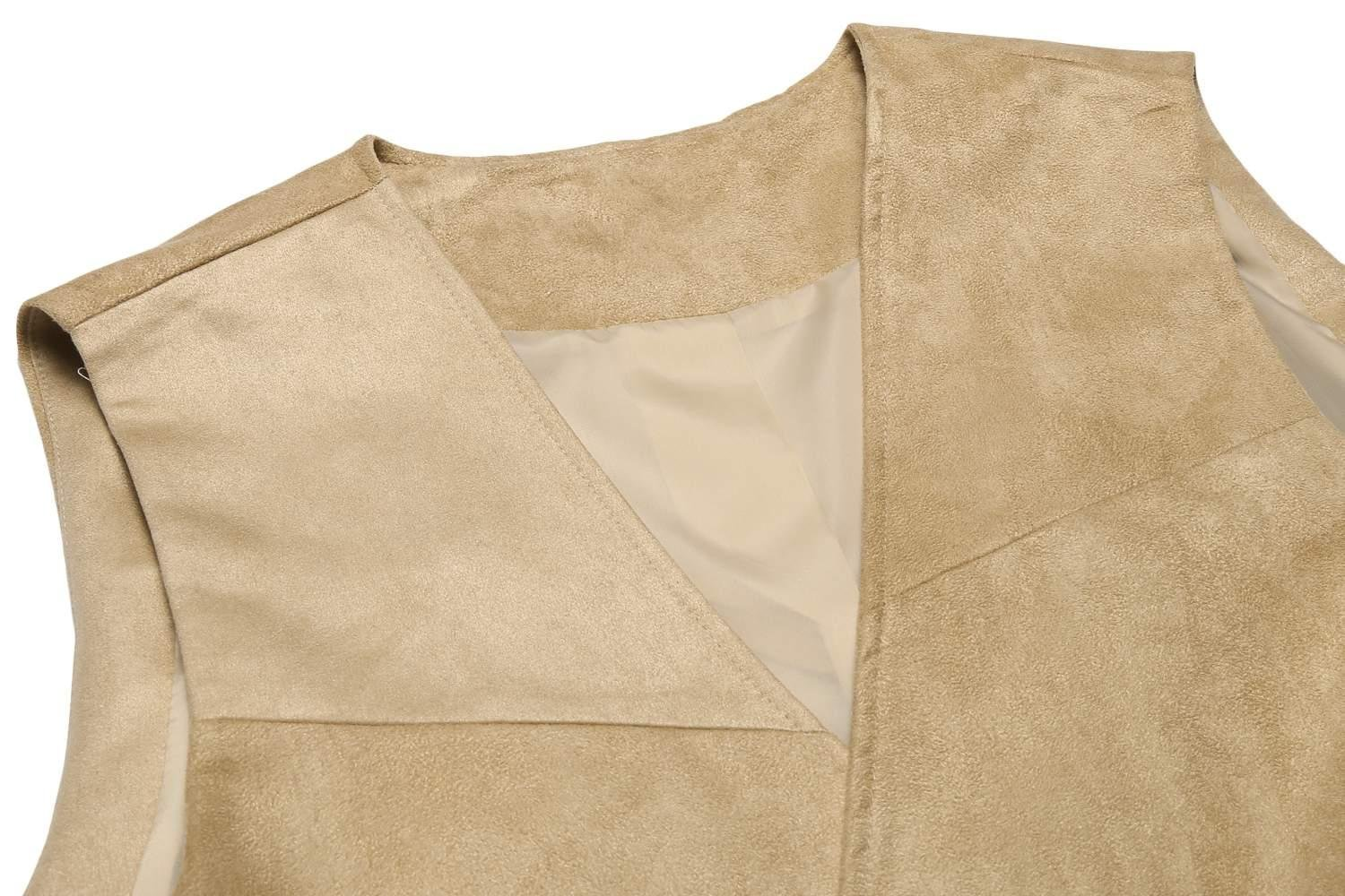 Edited Mens Faux Suede Vest Dress Suit Vest Formal Waistcoat for Wedding by Edited (Image #5)