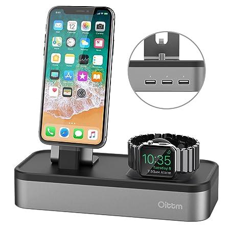Oittm 5 Puerto USB Soporte Carga para Apple Watch Series 3 / Apple Watch Series 1 / Apple Watch Series 2 / Apple Watch Nike+ / iPhone 7 / iPhone 8 / ...