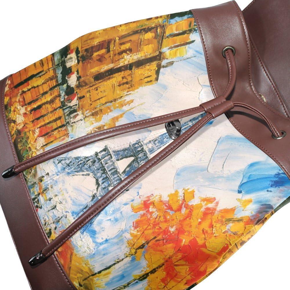 KUWT Watercolor Eiffel Tower PU Leather Backpack Photo Custom Shoulder Bag School College Book Bag Rucksack Casual Daypacks Diaper Bag for Women and Girl