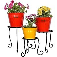 Magic Matels White Wrought Iron 3 Pot Stand,Flower Pot Stand, Flower pots for Garden, Iron Stand, Iron Stand for Plants, Iron Stand for pots