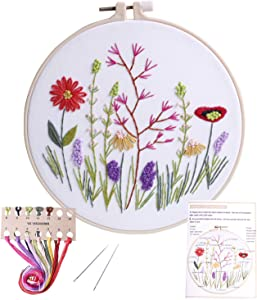 Stamped Embroidery Kit - for DIY Beginner Starter Stitch Kit for Art Craft Handy Sewing Including Color Pattern Embroidery Cloth,Embroidery Hoop,Color Threads,Tools Kit …