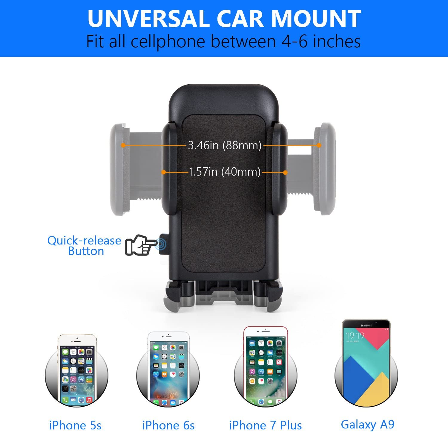 Google Nexus Air Vent Cell Phone Holder Cradle Compatible for iPhone X//8//8Plus//7//7Plus//6s//6Plus//5S Huawei and Other Smartphones Galaxy S5//S6//S7//S8 LUOMULONG Car Phone Mount