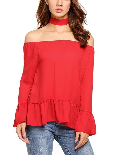 c870e30bb42403 Venena Women s Retro Long Sleeve Off The Shoulder Peplum Shirt Top ...