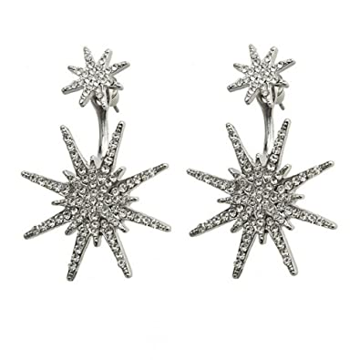 45ceb3f42 Amazon.com: B Jewelry Collection Pave Starburst Huggie Drop Earrings (Silver):  Jewelry