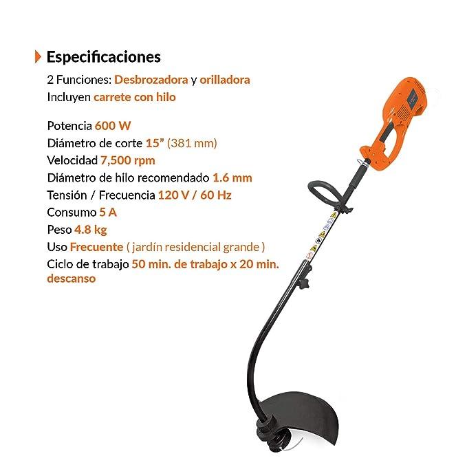 Amazon.com: Truper des-600 desbrozadora eléctrica 600 W/15 ...