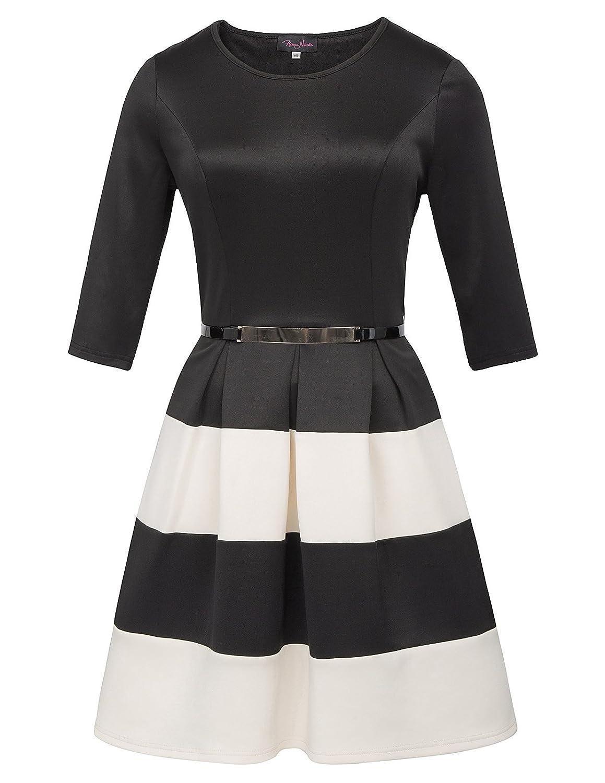 Beige Hanna Nikole Women Plus Size Stripe Dress Scoop Neck 3 4 Sleeve Vintage Belted Dress