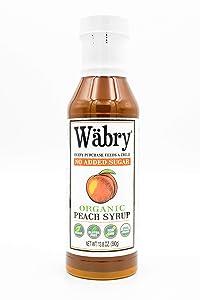 Wäbry Organic Syrup (Peach, No Sugar Added) 13.8 oz BPA-Free Plastic, Sweetened with Erythritol/Stevia