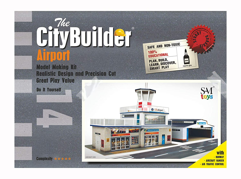 The CityBuilder Airport & Hanger Cardboard Model Making Kit - O Scale Model Railroad Building