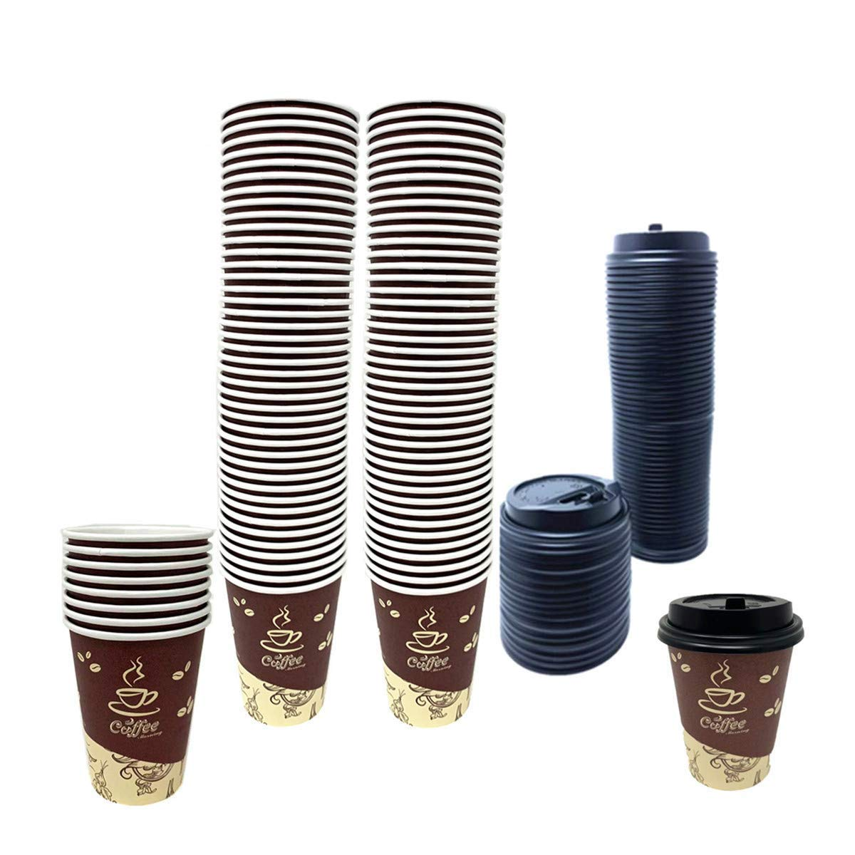 100 Pack Quality Disposable Paper Hot Coffee Cups with Lids, Perfect For Hot Drinks Tea & Coffee , Coffee Shops And Bars (8 oz, Coffee Bean Design) by Tsyware
