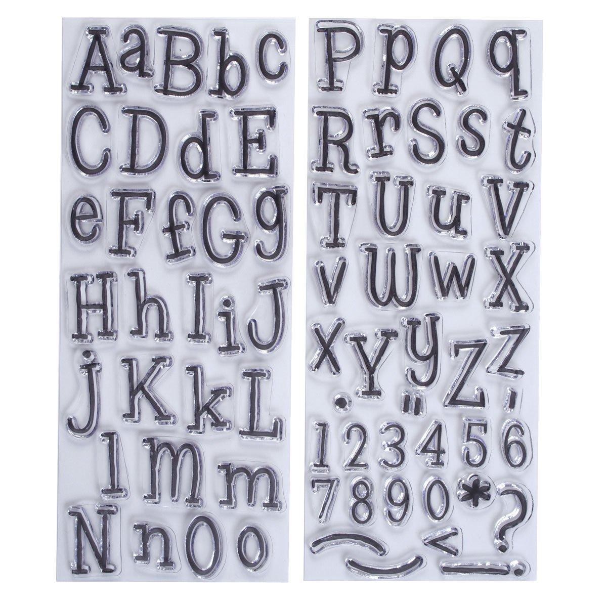 2 confezioni Papermania Leftovers Timbri con lettere dellalfabeto trasparenti
