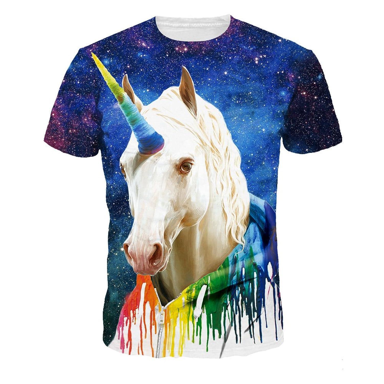 AHADOP Unisex 3D Print Short Sleeve T-Shirt Fashion Couple Tees