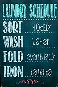 Laundry Schedule New Tin Metal Sign Man Cave,Funny Metal Sign 8x12 Inch