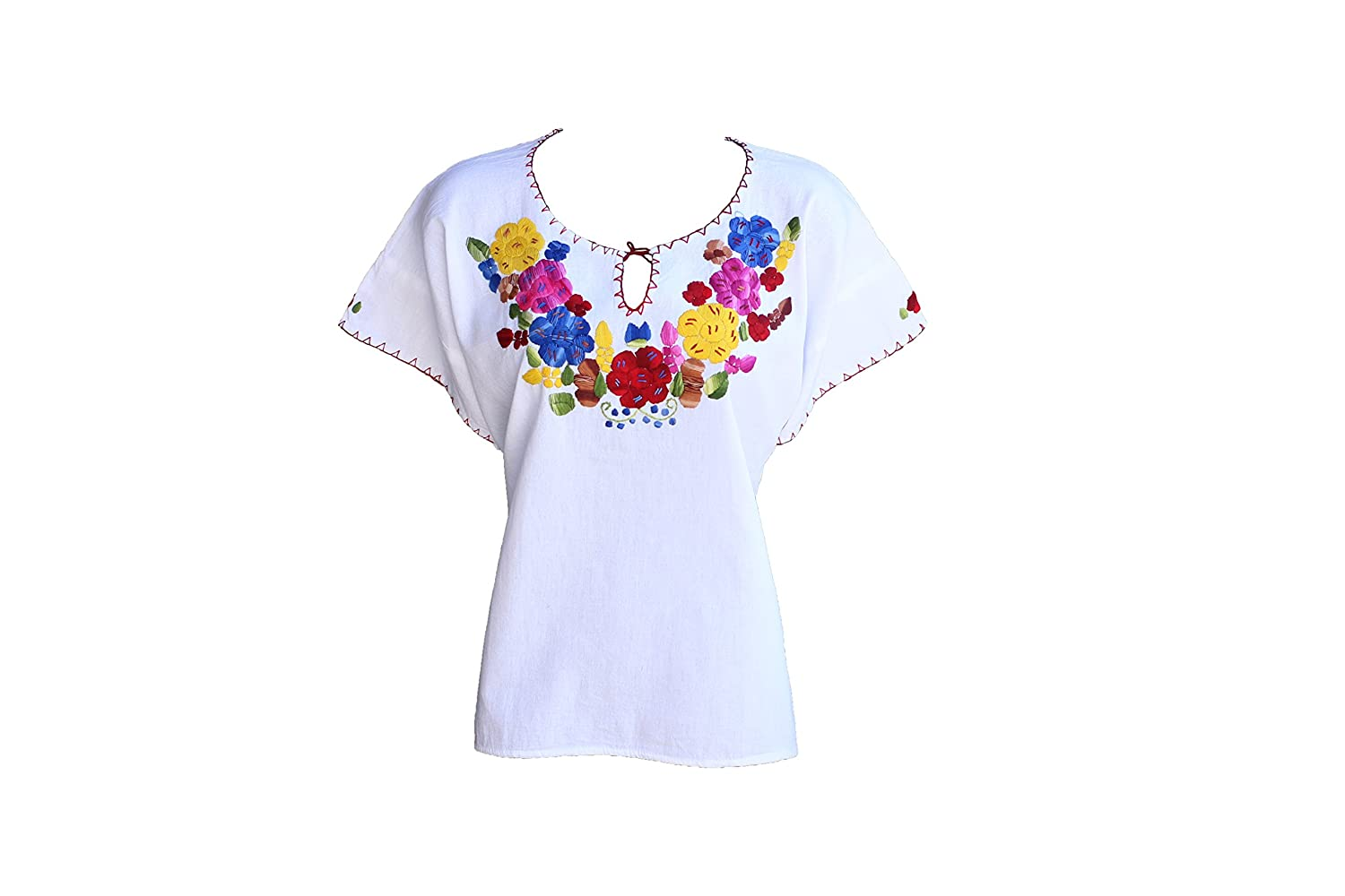 Tabik White Floral Authentic Mexican Peasant Blouse Embroidered