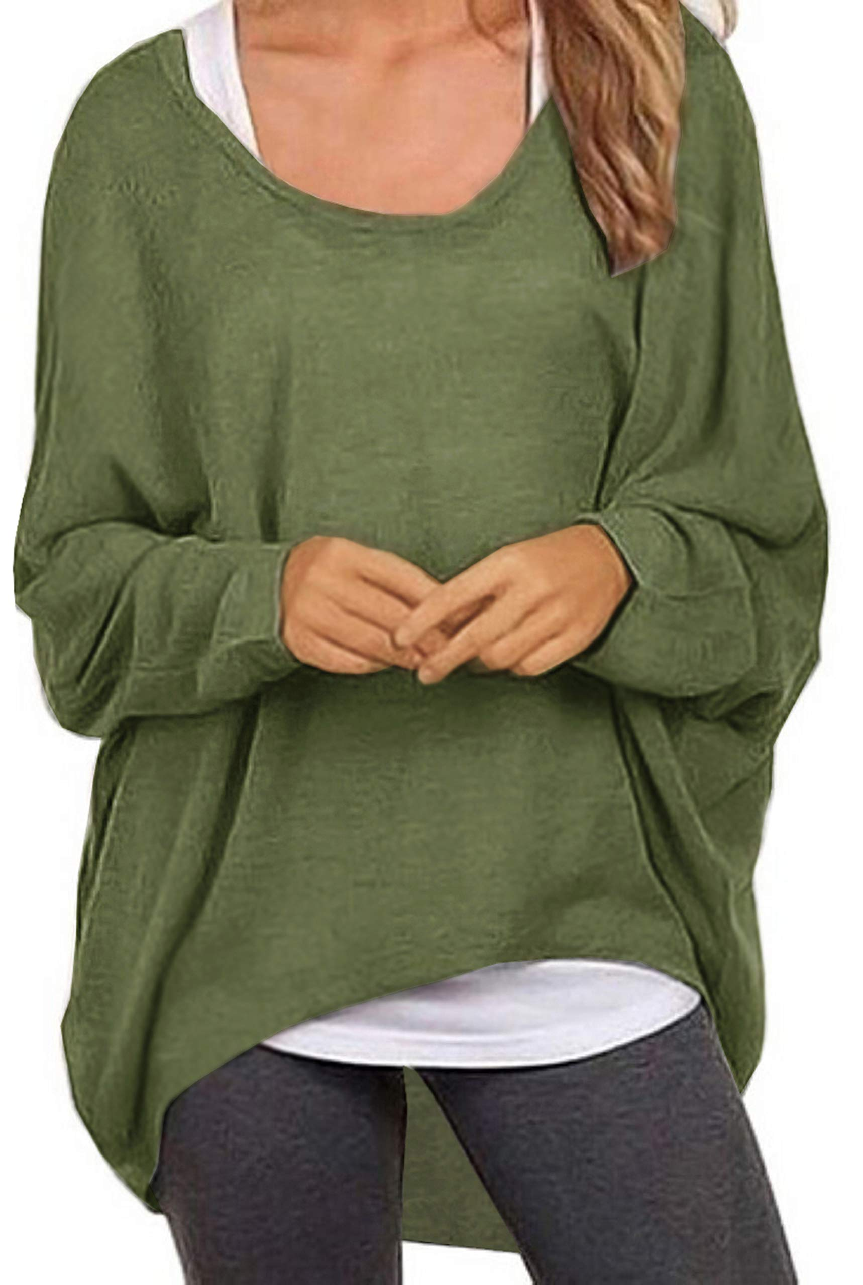 UGET Women's Sweater Casual Oversized Baggy Off-Shoulder Shirts Batwing Sleeve Pullover Shirts Tops Asia XL Army Green