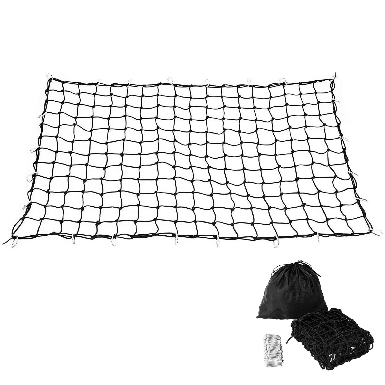 Trailer Truck Bed Cargo Net 4'x6' Stretches to 8'x12' with 24pcs Aluminium Hooks, 4'x4' Small Mesh, 1/5' Dia Thick Latex Bungee Cords