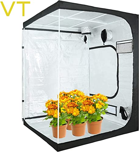 VERTOR VT 60 x60 x80 Reflective Mylar Hydroponic Grow Tent with Observation Window and Waterproof Floor Tray for Indoor Plant Growing 5×5 for 6 Plants