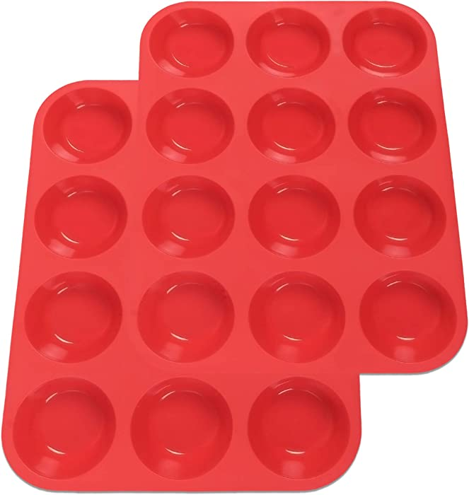 Silicone Muffin Non-stick Cupcake Pan - 12 Cups for Baking Cakes ,Muffin - 100% Food Grade Silicone Mold 2 per pack