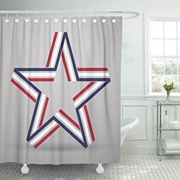 Amazon Emvency Shower Curtain Blue Patriotic Abstract Star Made