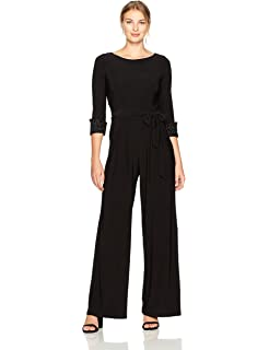 e1124478b8e3 Amazon.com: Eliza J Women's Wide Leg Jumpsuit with Ruched Sleeves ...