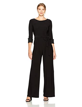 99a6d22ad6b2 Amazon.com  Eliza J Women s Jumpsuit with Beaded Cuffs  Clothing