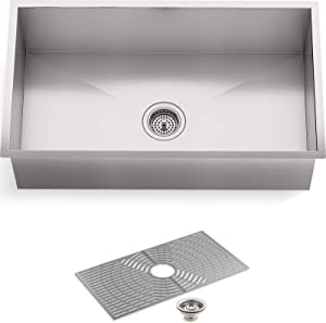 "STERLING by KOHLER 20022-PC-NA Ludington 32"" Under-Mount Single-Bowl, Large Single Basin Kitchen Sink with Accessories, Stainless Steel"