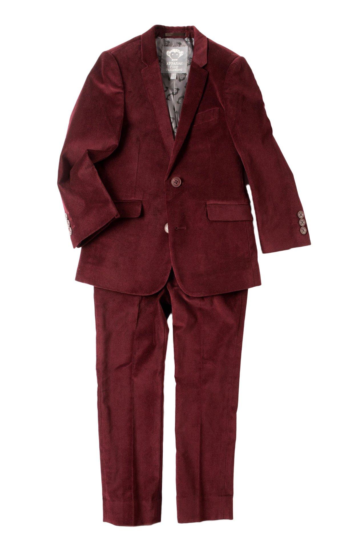 Appaman Big Boys' 2-PC Mod Suit in Tibetan Red Velvet 10