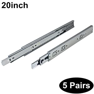 5 Pairs Soft Close DHH32-20 inch Full Extension Side Mount Drawer Slides 3-Folds Ball Bearing;100-pound Capacity