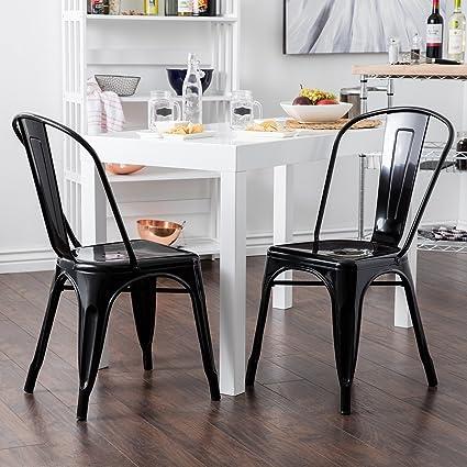Belleze Set Of (4) Vintage Style Dining Side Chairs Steel High Back (Black