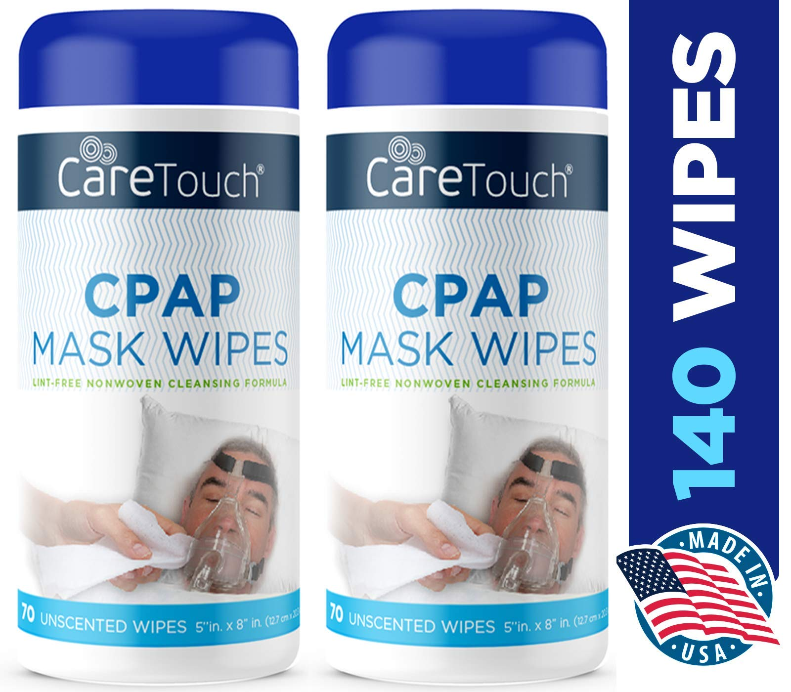 Care Touch CPAP Cleaning Mask Wipes - Unscented, Lint Free - 70 Wipes, Pack of 2-140 Wipes Total by Care Touch
